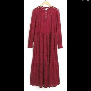 Anthropologie Olivia Lace Maxi Dress Color Wine XS